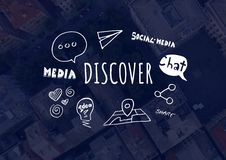 Discover text with drawings graphics Stock Photo