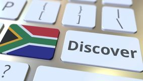 DISCOVER text and flag of South Africa on the buttons on the computer keyboard. Conceptual 3D rendering. Text and flag on the buttons on the computer keyboard vector illustration
