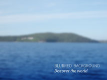 Discover. Vector.Blurred landscape, lake views mountains and sky.Seascape Royalty Free Stock Photography