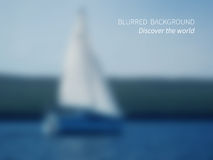 Discover. Vector.Blurred view on sailing ship in the water. On the horizon forest landscape and sky Stock Photos
