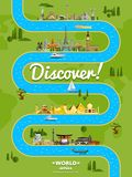 Discover the world poster with famous attractions Royalty Free Stock Photos