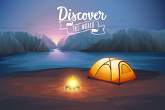 Discover the world poster, night landscape with tent. Vector illustration Stock Photos