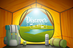 Discover the world poster, view from inside a tent. Royalty Free Stock Photography