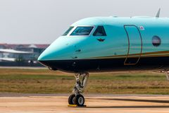 TMJ Airplane Request for Taxi. Discovered TMJ Airlane at Melacca airport in 2016 stock images