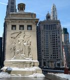Discoverers In Snow. This is a Winter picture of the art work on the Northeast Tower of the Michigan Avenue Bridge over the Chicago River in Chicago, Illinois Royalty Free Stock Photography