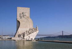 Discoveries Monument. Portugal Lisbon Belem district Monument to the Portuguese voyages of discoveries Padrao dos Descobrimentos overlooking the Tagus Tejo River royalty free stock photography