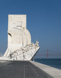 Discoveries Monument in Lisbon, Portugal. The Monument to the Discoveries (Padrao dos Descobrimentos), statues of pioneering ocean navigators in an abstract royalty free stock image