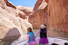 Discovering Beautiful Southwest USA Colorado River. A young family Discovering Beautiful Southwest USA Colorado River Stock Photos