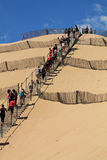 Discovering the biggest dune of europe dune pilat pyla in france stock image