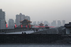 Discovering China: Xian ancient city wall. stock photography