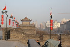 Discovering China: Xian ancient city wall. Royalty Free Stock Images