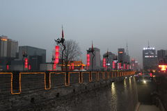 Discovering China: Xian ancient city wall. royalty free stock photography