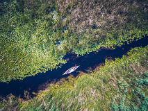 Discovering Danube Delta in a Canoe aerial view Stock Photography