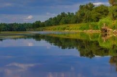 A beautiful lake in Danube Delta, Romania. Discovering Danube Delta in a Canoe. Water channel, river in Danube delta, Romania - Image stock images