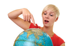Discovering globe Stock Photography