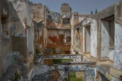 Discovering old Lisbon buildings with graffiti stock photos