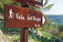 Discovering Pantalica. Trail signs inside the Calcinara valley in the north side of the  rocky necropolis of Pantalica Royalty Free Stock Photography