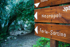 Discovering Pantalica. Trail signs inside the Calcinara valley in the north side of the rocky necropolis of Pantalica royalty free stock image