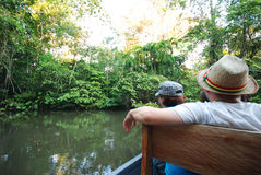 Discovering the rainforest on a boat, Amazonia, Ec Royalty Free Stock Photo