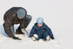 Discovering snow with dad Royalty Free Stock Image