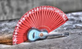 the traditional flamenco, guitar and fan royalty free stock images