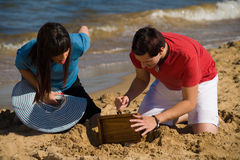 Discovering a treasure Stock Images