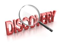 Discovery Text. Red Discovery Text. 3d render royalty free illustration