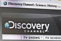 Discovery. Macro image of internet browser whit discovery channel loaded Stock Image