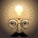 The discovery. Illustration with face of scientist and lamp light up his brains inside as metaphor of discovery drawn in retro style Royalty Free Stock Photos