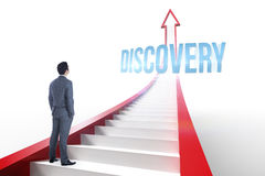 Discovery against red arrow with steps graphic Stock Images