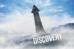 Discovery against road turning into arrow Royalty Free Stock Image