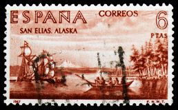 Discovery of America, Explorers and Colonizers of America (VII) serie, circa 1967. MOSCOW, RUSSIA - MARCH 23, 2019: Postage stamp printed in Spain shows royalty free stock photography