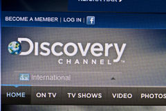 Discovery Channel. Website displayed on computer screen Royalty Free Stock Photos