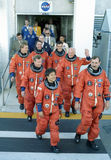 Discovery crew on way to launch. Discovery crew on their way to launch on October 29, 1998, at Kennedy Space Center, Florida Stock Image
