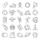 The discovery and exploration of space line icons set. For web and mobile design Stock Photography