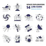 The discovery and exploration of space line icons set. For web and mobile design Royalty Free Stock Photos