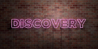 DISCOVERY - fluorescent Neon tube Sign on brickwork - Front view - 3D rendered royalty free stock picture. Can be used for online banner ads and direct mailers Royalty Free Stock Photography