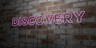 DISCOVERY - Glowing Neon Sign on stonework wall - 3D rendered royalty free stock illustration. Can be used for online banner ads and direct mailers Royalty Free Stock Images
