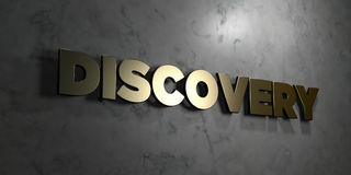 Discovery - Gold sign mounted on glossy marble wall  - 3D rendered royalty free stock illustration Royalty Free Stock Photography