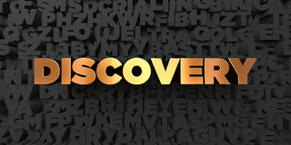 Discovery - Gold text on black background - 3D rendered royalty free stock picture. This image can be used for an online website banner ad or a print postcard Stock Images
