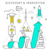Discovery and Innovation. Vector flat line innovation concept illustration depict process of discovery and innovation technology, ideas, knowledge, investing Stock Photo