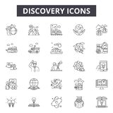 Discovery line icons, signs, vector set, outline illustration concept. Discovery line icons, signs, vector set, outline concept illustration stock illustration