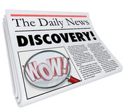 Discovery Newspaper Headline Announcing Surprising News. The word Discovery on a newspaper headline with photo of magnifying glass on word Wow to illustrate Royalty Free Stock Images