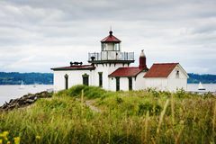 Discovery Park Lighthouse. The West Point Light, also known as the Discovery Park Lighthouse, is a 23-foot-high lighthouse in Seattle.  West Point marks the Stock Photography