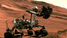 Discovery rover on Mars surface.