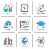 Discovery and science line icons set. Flat line icons set of discovery new things, school measurement items, science and chemistry, planet adventures, planet royalty free illustration