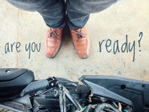 Discovery of traveling. And text on ground Vintage style effects Royalty Free Stock Images