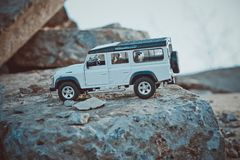 Discovery Trip. Of allroad jeep which conquers mountains stock images