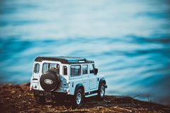Discovery Trip. Of allroad jeep which conquers mountains stock photo