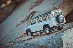 Discovery Trip. Of allroad jeep which conquers mountains stock image